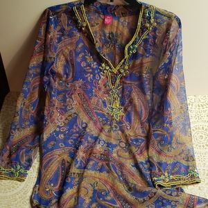 100% silk tunic top / M